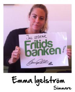Emma Igelström stöttar Fritidsbanken